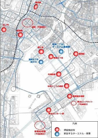 臨海副都心BRT停留場位置