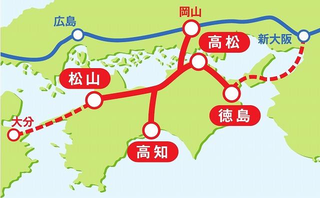 四国新幹線ルート図