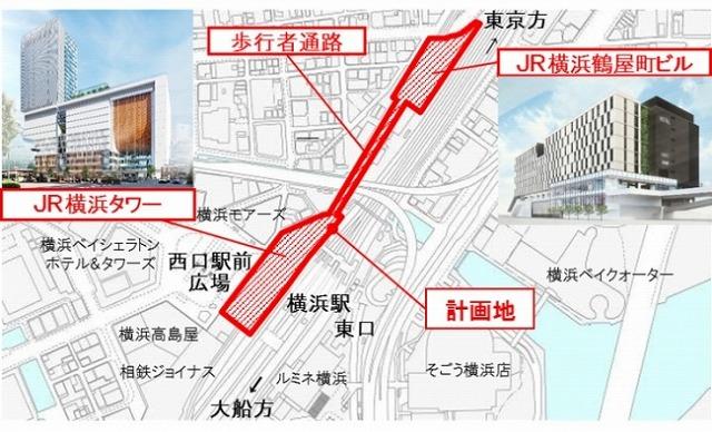 JR横浜駅西口再開発位置図