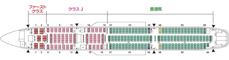 JALエアバスA350型機座席配置
