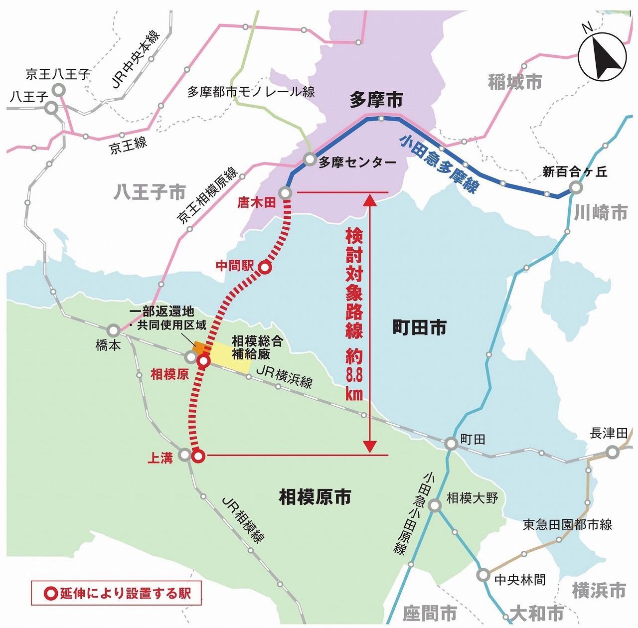 小田急多摩線延伸概略図