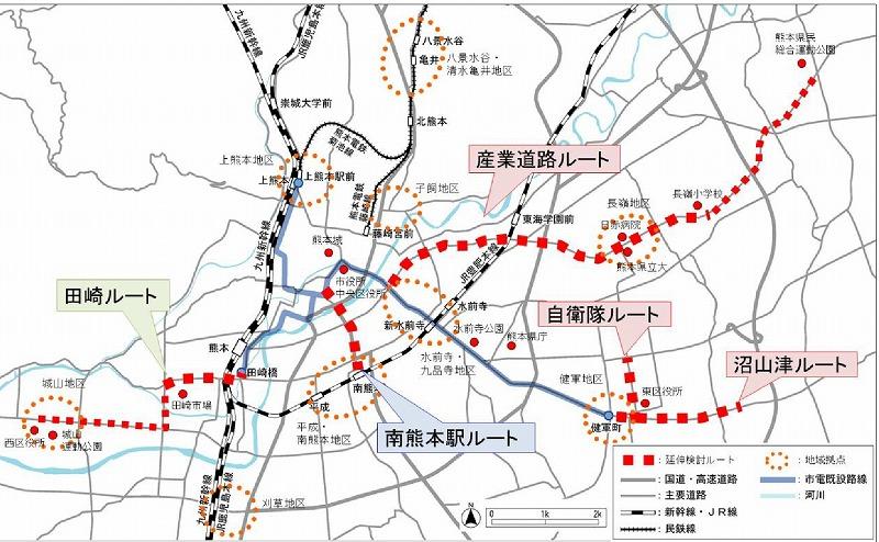 熊本市電延伸案5ルート