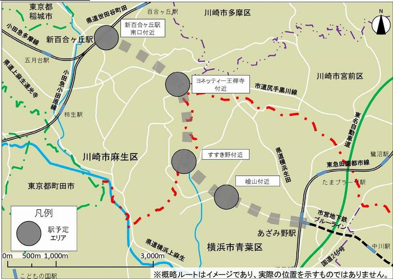 横浜市営地下鉄ブルーライン延伸ルート図