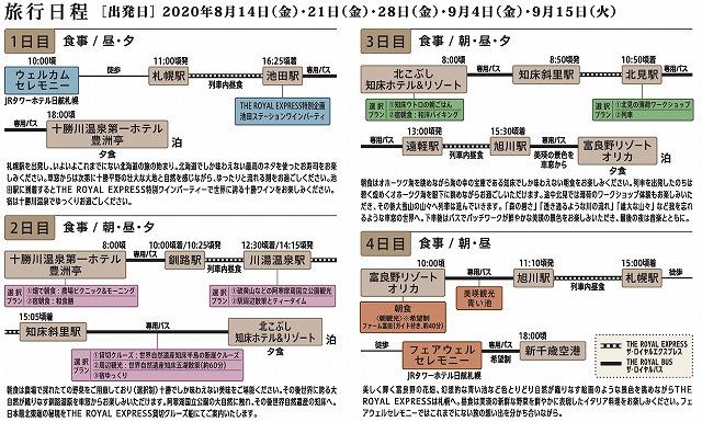 ロイヤルエクスプレス北海道クルーズ行程表
