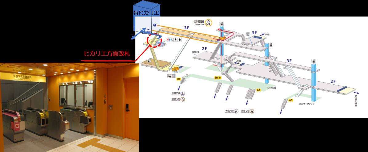 渋谷駅ヒカリエ改札案内図