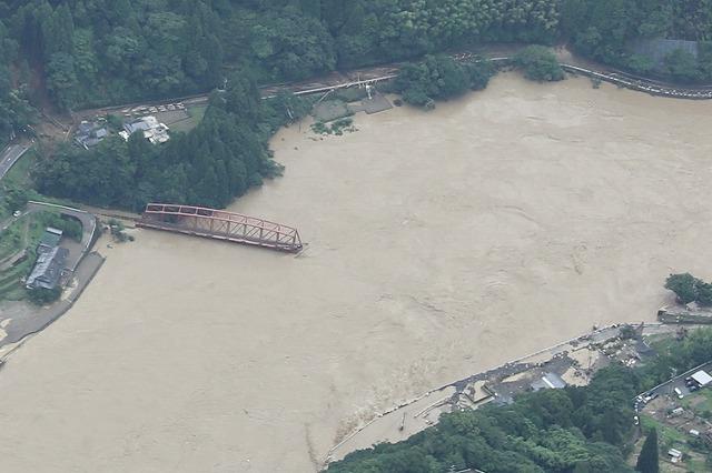 球磨川第一橋梁流出