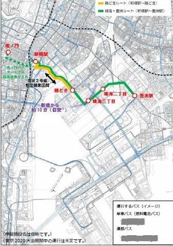 臨海副都心BRT路線図