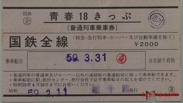 青春18きっぷ1日券