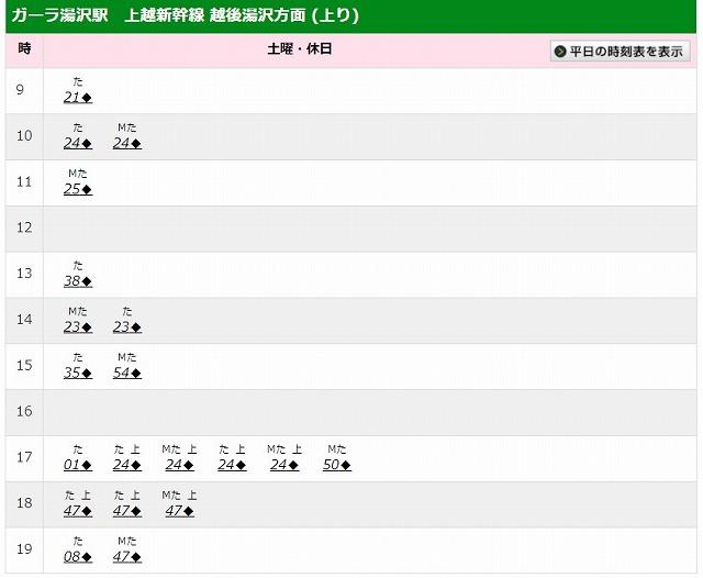 ガーラ湯沢駅時刻表