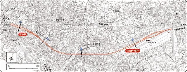 羽沢横浜国大駅位置図