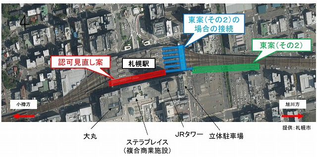 札幌駅新幹線ホーム位置図