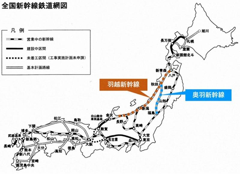 羽越・奥羽新幹線概略図