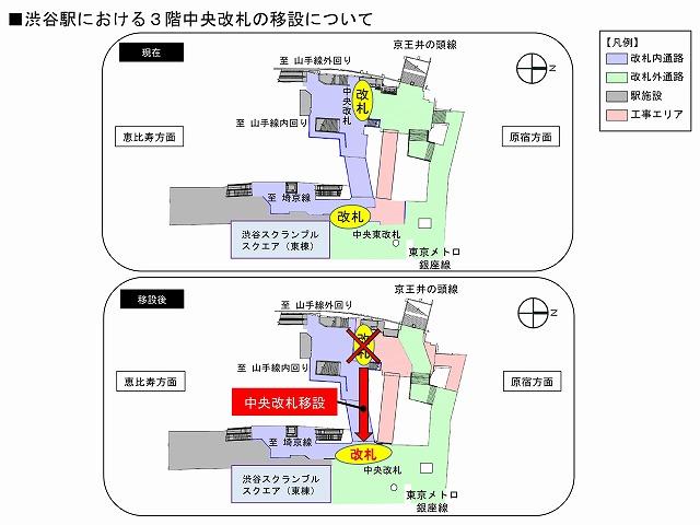 渋谷駅中央改札移設