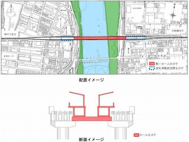 武庫川新駅位置図